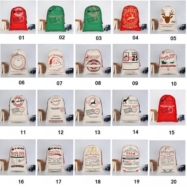 2018 Christmas Gift Bags Large Organic Heavy Canvas Bag Santa Sack Drawstring Bag With Reindeers Santa Claus Sack Bags for kids