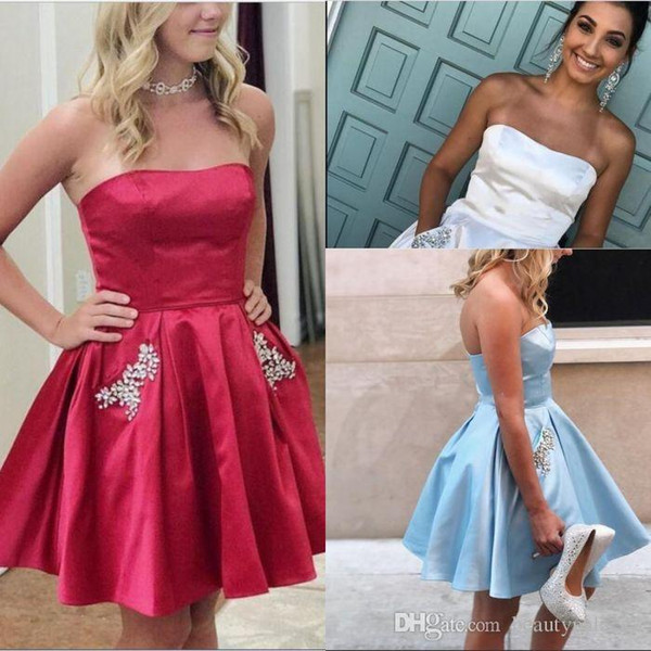 Short Homecoming Dresses Ruched Elastic Satin Crystal Pockets Plus Size Dark Red Light Sky Blue Strapless Party Gowns Prom cocktail Gowns