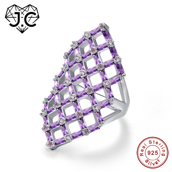J.C Hollow Square Design Emerald Cut Amethyst Pink & White Topaz Ruby Spinel 925 Sterling Silver Ring Size 6 7 8 9 Fine Jewelry Y18102510