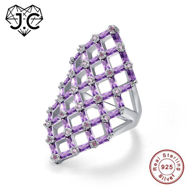 J.C hohlen quadratischen Design Smaragd geschnittenen Amethyst rosa weißen Topas Rubin Spinell 925 Sterling Silber Ring Größe 6 7 8 9 edlen Schmuck Y18102510