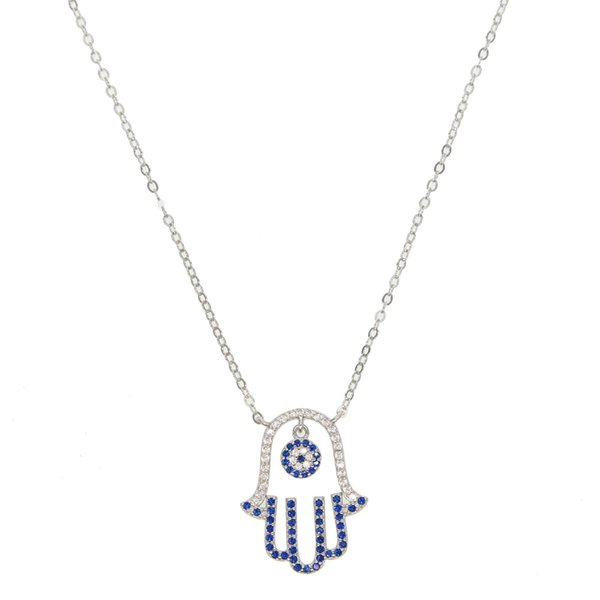 2018 Lucky Turkish evil eye hamsa hand necklace delicate chain pave blue cz pendant necklaces 100% 925 sterling silver jewelry