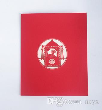 love15 Bridal sedan chair paper carving watercolor blessing can be customized general valentine's day card teachers' day cute15