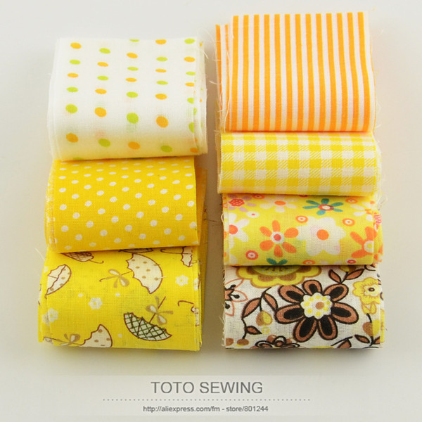 top popular Booksew 100%cotton fabric F036# 7pcs lot gold yellow set jelly roll strips quilting patchwork 5cm x100cm for DIY handmade crafts 2021