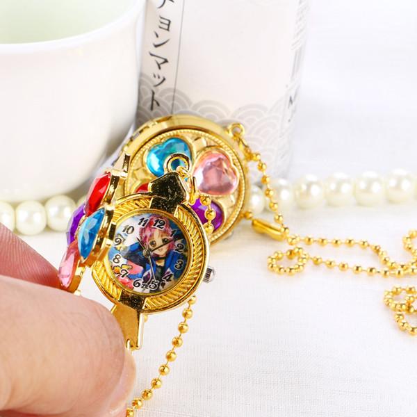 Nouvelle inscription tendance Rétro Gem Dames Poche Montre Collier Pendentif Flip étudiant montre Quartz montre Mur montres Cadeau d'anniversaire