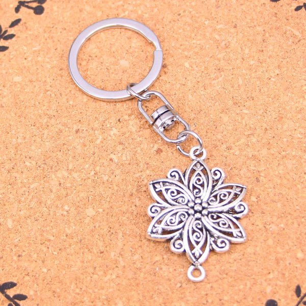 New Fashion Keychain 39*28mm flower connector Pendants DIY Men Jewelry Car Key Chain Ring Holder Souvenir For Gift