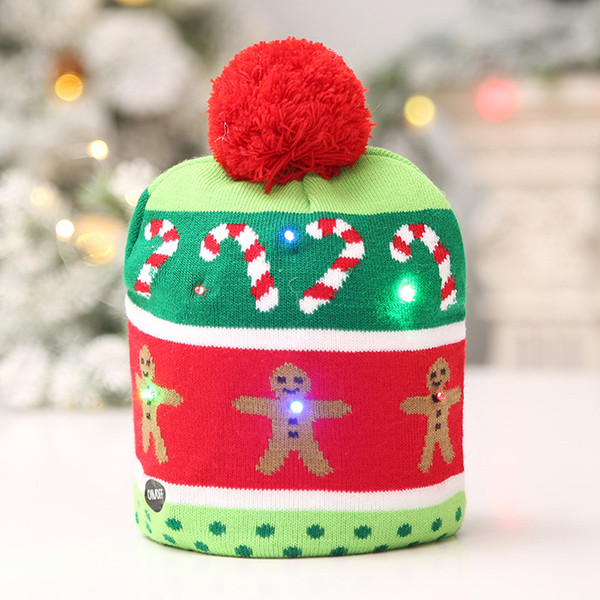 Christmas Knitted LED Light Cap Christmas Tree Snowman Light Shiny Hat Adult Children Lighted Knit Hat Decoration