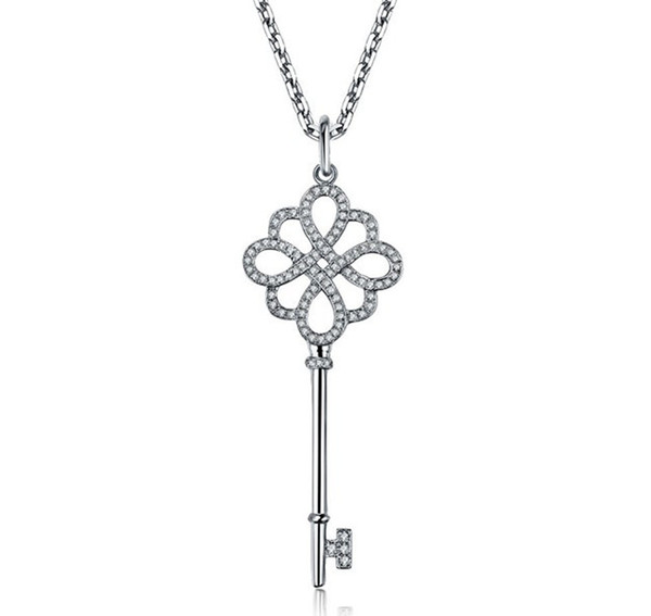 China Knot T-Brand Awesome Key Pendant Genuine Sterling Silver Pendant Engagement Necklace White Gold Color Jewelry 16 inch Chain