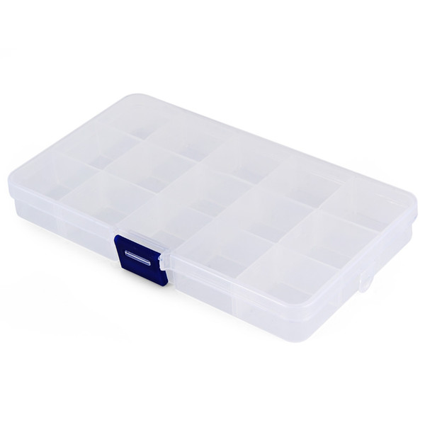 Transparent Plastic Storage Box 15 Compartments Jewelry Earring Tool Containers used for storing fishing hook, fish lure bait