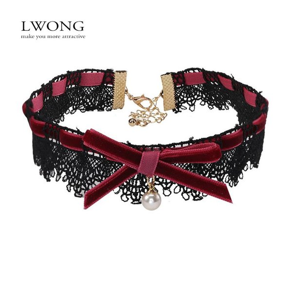 whole saleLWONG Delicate Bow Black Lace Choker With Drop Imitation Pearl Fashion Jewelry Bow Velvet Chokers Necklaces for Women Sautoir