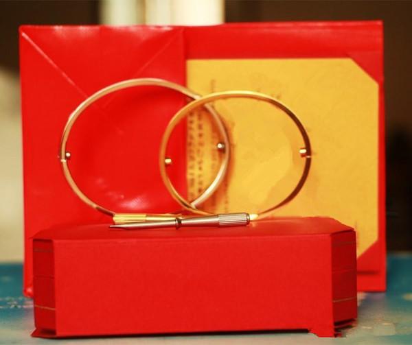 Bijoux Titane Acier Amour Bracelets argent rose or Bracelets Femmes Hommes Tournevis Tournevis Bracelet Couple Bijoux avec coffret d'origine