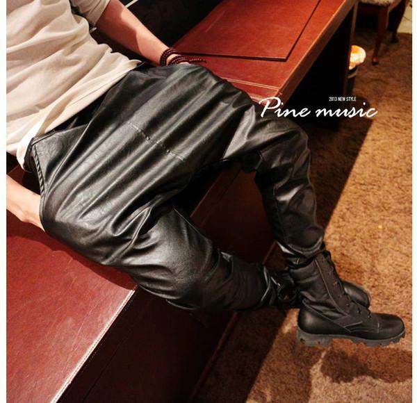 Nouveau Nice Fashuion Faux Cuir Harem Pants Hommes Drop Crotch Pants Hommes Baggy Casual Mode Taille Élastique hommes / PK2
