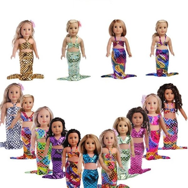 18 Inch Glittering Mermaid Clothes Creative American Girl 2pcs Set Dress For Christmas Kids Gift Toys Swimsuit Hot Sale 7 8zk YY