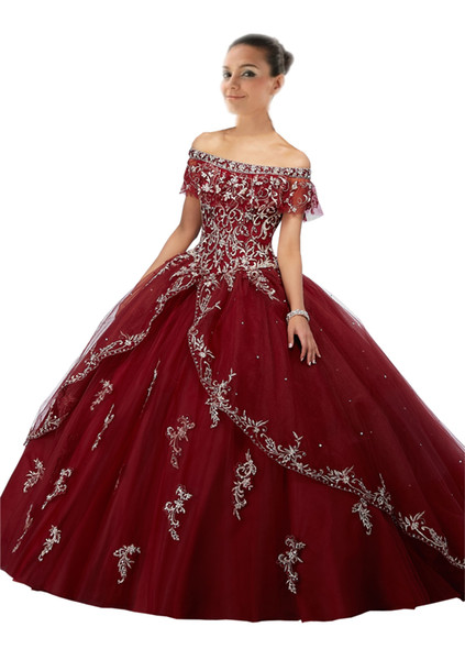 Burgundy Quinceanera Dresses 2018 Long Cheap Ball Gown Prom Dress Sweet 16 Girls Off shoulder Sliver Embroidery Vestidos 15 anos
