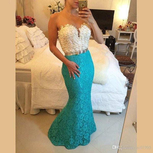 Elegant and charming pearl Blue Lace Mermaid Evening Dress Long Formal Prom Dresses Custom Made Robe cocktail gown