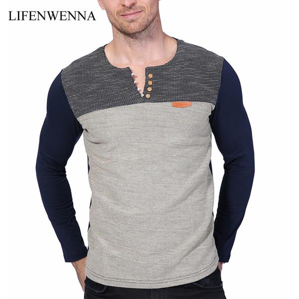 Hot Sale 2017 New Fashion Brand O-Neck Slim Fit Long Sleeve T Shirt Men Trend Casual Mens T-Shirt Patchwork Tee Shirts 4XL 5XL S917