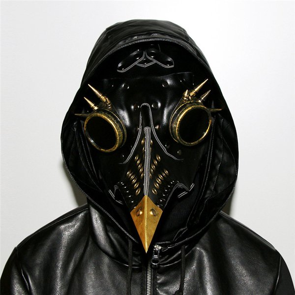 Black PU Leather Gothic Retro Rock Long Beak Plague Bird Mask Doctor Mask Steampunk Halloween Costumes Anime Cosplay Accessories HG079