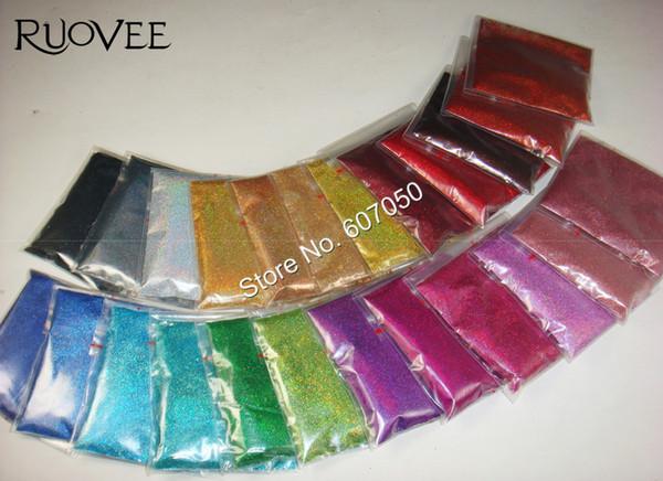 24 Láser Holográfico Colores 0.1 MM Brillo de Uñas Polvo Brillante de Polvo Fino para DIY Manicura Unha Diseño Artesanía Accesorios
