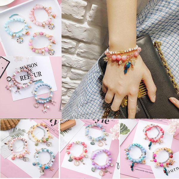 Bohemia Starfish shells Double Layer Crystal Beads Charm Bracelets Rhinestone Bracelet&Bangles for Women Christmas Gift 5 Style
