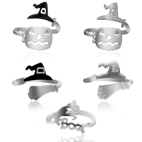Halloween Witch Hat, Ring Broom, Broom Mop, Pumpkin Lamp Hollowed Out, Personality Simple Ring Ring Jewelry