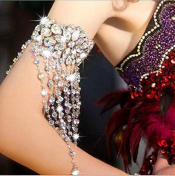 Handmade Women Silver Flower Rhinestones crystal Hand arm Chain Bridal Wedding Tassel ribbon Bracelet Jewelry Accessories