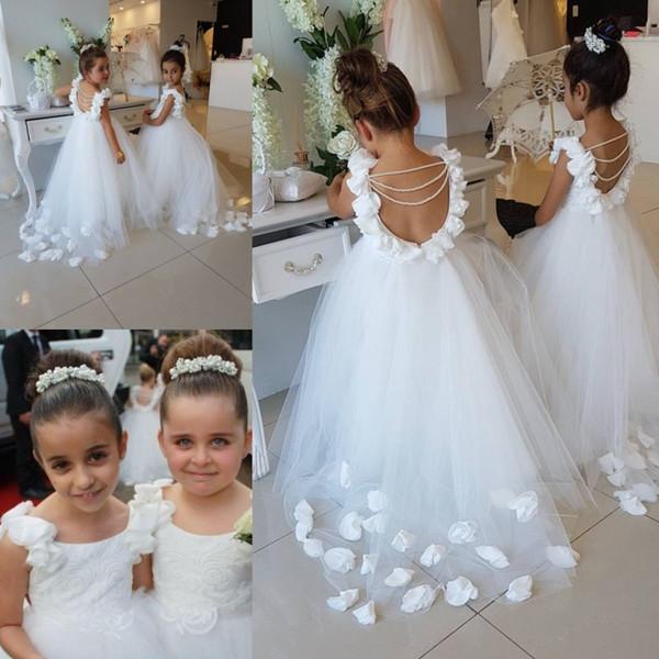 Vestidos de niña de flores bastante blanca con encaje Joya Cuello Apliques florales 3D Rebordear Chicas sin respaldo Vestir Vestido formal para el matrimonio