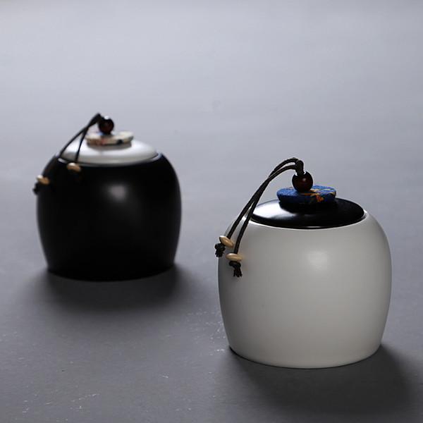 2018 Novo Branco Preto Tin Matte Caixa De Armazenamento De Chá Estilo Chinês De Cerâmica Chá De Açúcar Frutas Secas Organizador De Sal Recipiente Frascos De Garrafa
