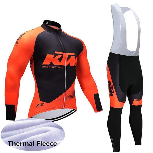 New KTM team Maglia da ciclismo set Winter Thermal Fleece Manica lunga Mtb da bicicletta Abbigliamento da corsa Indossare Ropa de Ciclismo Sportswear 102406