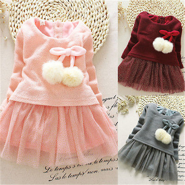 14288dc08ae38 Kids Toddler Baby Girl Knitted Sweater Princess Pageant Party Dress Clothes  0-24M All Seasons