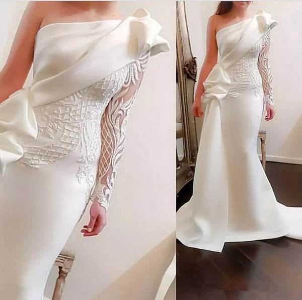 Elegant One Shoulder Mermaid Long Evening Dresses 2018 White Long Sleeve Satin Ruched Ruffles Applique Sweep Train Formal Party Prom Dresses
