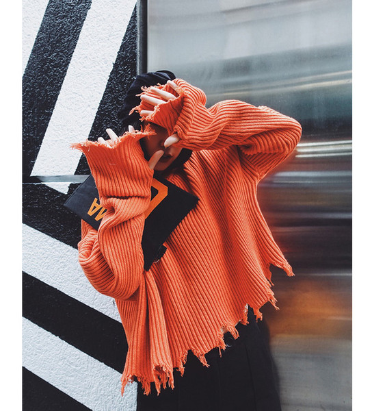 Pullover maglioni corti con nappe strappate 2019 donne nuove maniche lunghe allentati maglioni arancioni neri ragazze autunno maglione lavorato a maglia irregolare