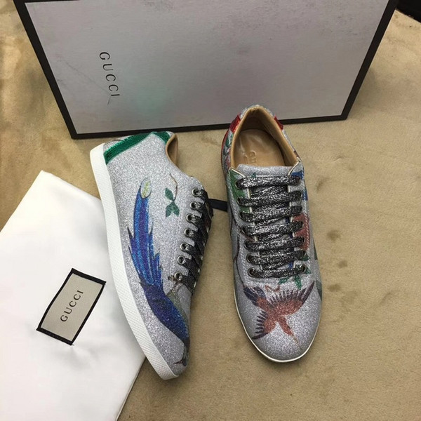 huweifeng4 Quality Top Women Letter Flash silver printing Flat Shoes Genuine Leather casual sports shoes Sneakers 35-41 With Box