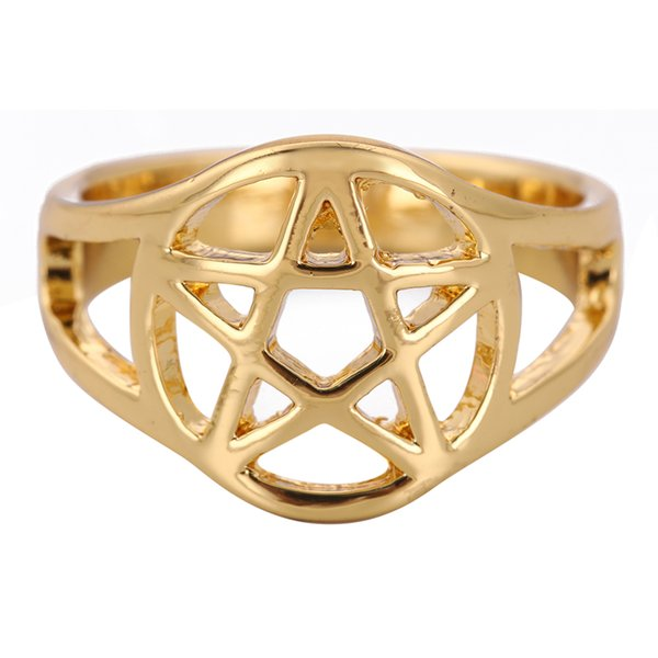 Alloy Rings Fashion Women Brief Vintage Quality Rhinestone Gold Color Plated Five-point Star Alloy Finger Rings Beautiful Cute Mens Ring