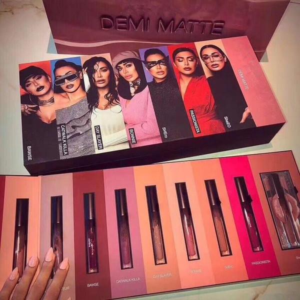 EN STOCK !! Nouveau Maquillage Marque Beauté DEMI Mat Rouge À Lèvres 15pcs / set Liquide Mat 15colors Brillant À Lèvres haute qualité Cadeau