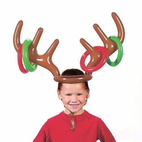 풍선 PVC 순록 안뜨기 모자 반지 던지기 게임 크리스마스 휴일 파티 장난감 무스 크리스마스 의상 귀여운 재미있는 게임은 코스프레를 호의