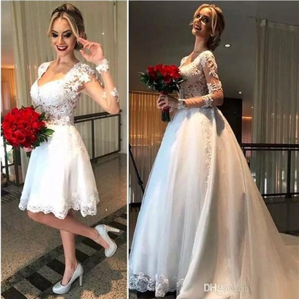 Sexy Long Sleeves Wedding Dresses Tulle with Appliques See-Through Back with Removable White Gauze Skirt 2019 Custom Bridal Gowns
