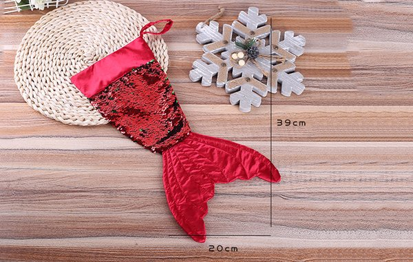 Christams Decorations Mermaid Christams Stocking Gift Wrap Bags Bling Bling Bead Flip Tail Calze Natale Home Decor 3 Colori 16 pollici C1810232