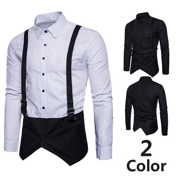Europa código de outono e inverno dos homens de moda falsa dois colete cinto camisa coreana de manga longa camisa casual leggings