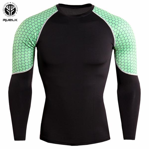 RUELK 2018 мужские колготки с длинными рукавами шить дышащий и быстросохнущие фитнес футболка с длинными рукавами футболки пот