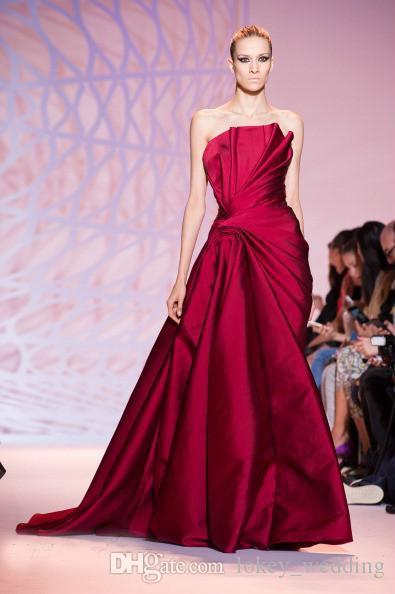 zuhair murad Burgundy Evening Dresses 2018 Mermaid Strapless Court Train Ruched Pleats Formal Long Prom Dresses Party Gown