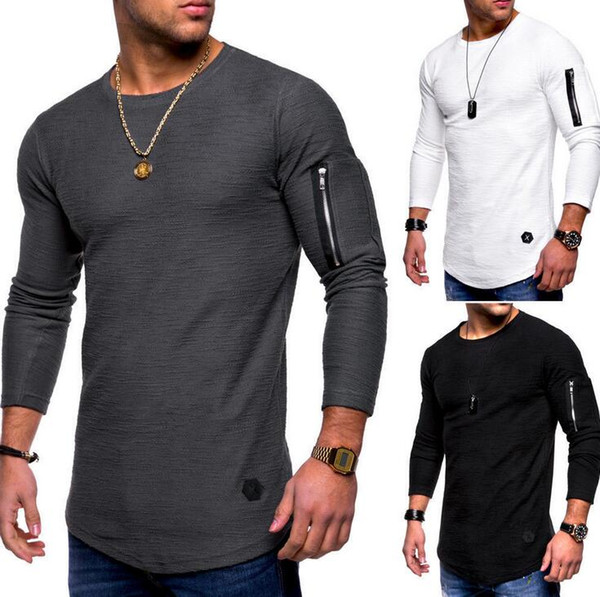Men Tshirts New Fashion Casual Zipper Solid Big Plus Size Skinny Tops Long Sleeve Spring Autumn O Neck Tees High Street Styles