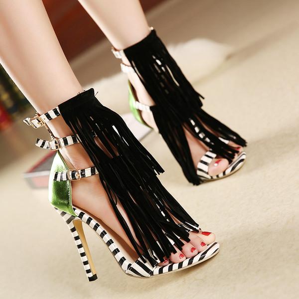 Seksi moda Bayan Ayakkabı sandalet Stiletto Topuk Ayakkabı Yüksek Topuklu Bayan Stilettos Topuk 11 cm püskül Gladyatör Toka Kayış