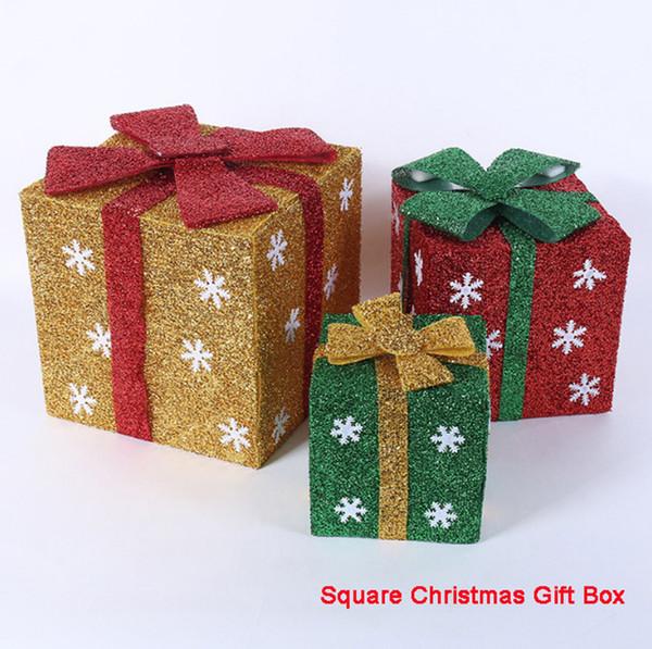 4 PCS/Lot PVC Christmas Gift Box Sale Christmas Cookie Candy Gift Box Hotel Home Shopping Mall Gift Box Christmas Tree Ornament