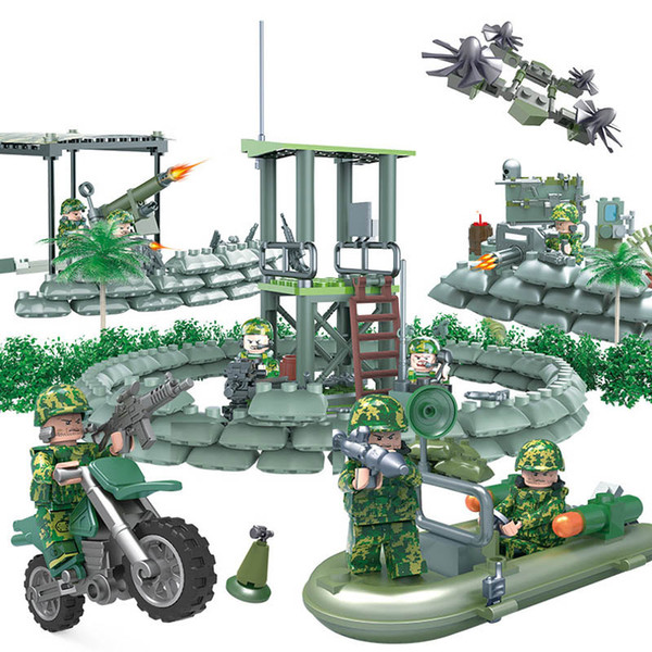 Jungle Commandos Amphibious Special Forces Camouflage Army Figure Military Modern War Building Block Toy