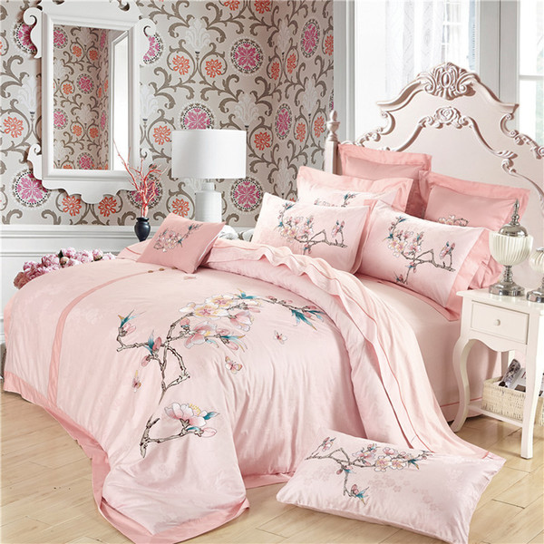 pink luxury tribute silk bedding set queen size flower egyptian cotton bedding princess embroidered home textile bed sheet girl