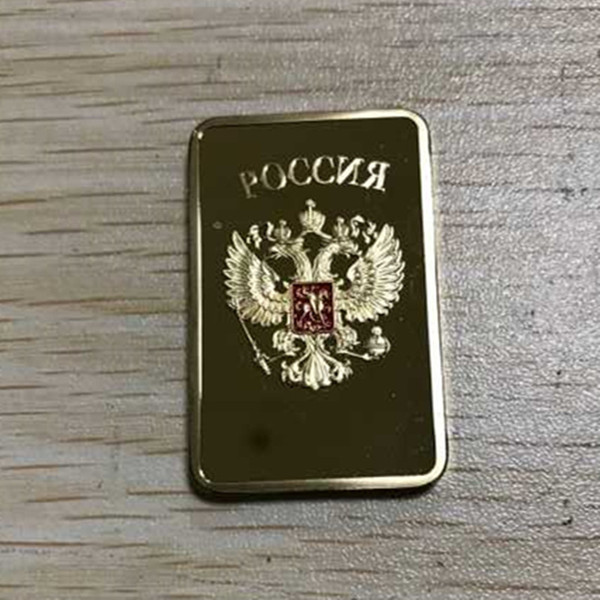5 Pcs The Collectible Russian map ingot bar 1 OZ 24K real gold plated badge 50 x 28 mm Russia souvenir coin