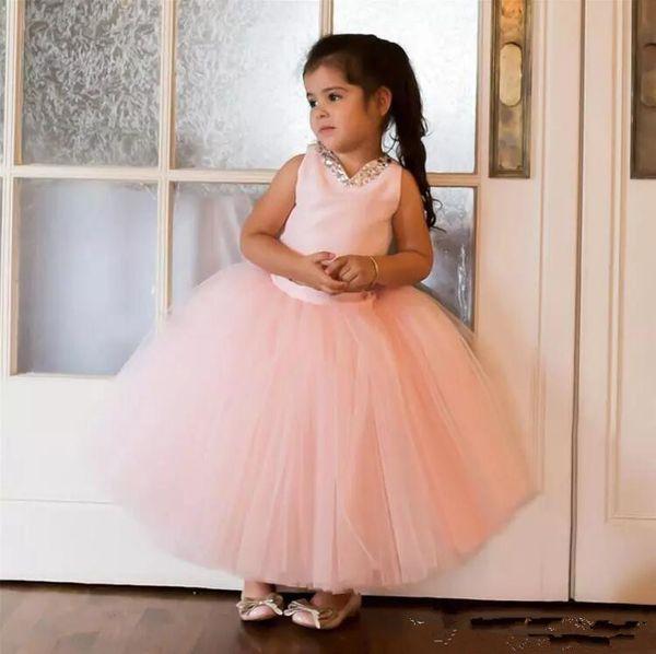 2018 lindo rubor rosa tul vestido de bola vestidos de las muchachas de las flores para los granos de la boda fiesta de noche de tobillo vestido formal