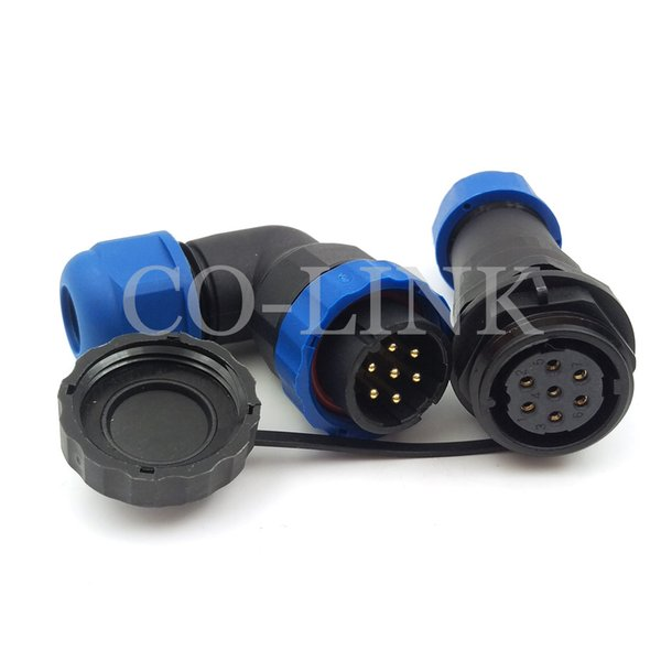 SD20,7 pin waterproof connector Plug and socket, IP67, LED Panel Mount connectors, 10A 250V automotive power cable bulkhead connector