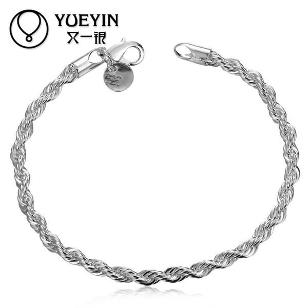 Bracelet sans plomb en argent sans nickel pour les femmes corde classique 20cm bracelet rond bijoux de mode de style branché pour les femmes