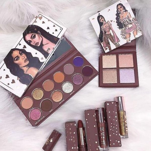 KJ collection Bundle lipgloss eyeshadow palette woods lipstick and collection pressed powder highlighter palette
