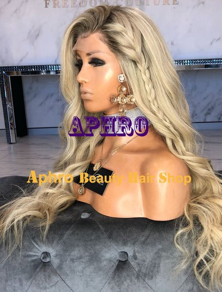 Luxy Blonde European Hair Glueless Silk Top Full Lace Wigs With Dark Roots 180% Density 5x5 inch Blonde Full Lace Virgin Human Hair Wigs